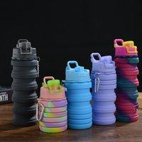 Camuflaje botella de agua silicona plegable telescópico vaso carabiner deportes copas copas portátil caminata equipo de camping HWB6319