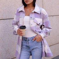 Vestes surdimensionnées Chemise rembourrée surdimensionnée avec poches Pockets Bouton Tops en coton à carreaux de coton de coton