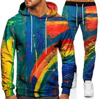Men's Tracksuits Spring And Autumn 3D Color Graffiti Print Unisex Hoodie + Sweatpants 2-piece Casual Sportswear Outdoor Jogging Wear S-6XL