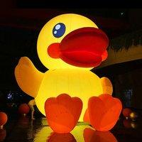 Söt 13 meter höjd jätte uppblåsbara gummi duck modell / 4m lång uppblåsbara gul ankor för dekoration leksaker