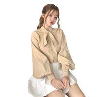 Women's Blouses & Shirts Blusa feminina manga comprida gola peter pan, camisa branca bowknot rosa U39G