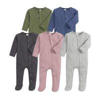 Baby boy girls ribbed Romper INS Newborn solid stripe Jumpsuits autumn \winter Boutique long sleeve kids Climbing clothes