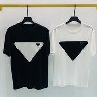 Europa Triángulo Metal aplique insignia camiseta 2021 primavera verano fresco bordado hombres camiseta mujer casual algodón tee