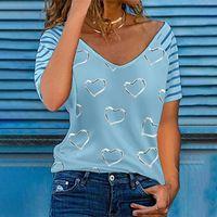 Women's Blouses & Shirts Shirt Heart-shaped Elegant V-neck Zipper Decoration Short-sleeved Leisure Blouse Women Clothing Loose Tops