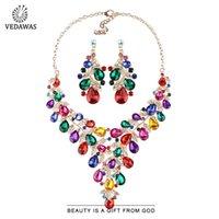 Vedawas Bohemian Fashion Multicolore Collana di foglia Set di gioielli Set per le donne Wedding Elegante colletto acrilico Collano ciondolo choker collane