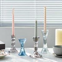 Glass Candle Holders Nordic Irregular Holder Mini Wedding Gift Vintage Home Decoration Tall