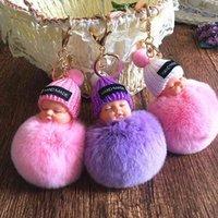 Sevimli Uyku Bebek Ponpon Tavşan Kürk Topu Peluş Oyuncaklar Anahtarlık Çanta Kolye Charm Aksesuarları Bebek Çocuk Noel Hediyeleri