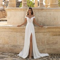 Bohemian Wedding Dresses Sheer Scoop Neck A Line Sexy Side Slit Lace Applique Beach Chiffon Wedding Dress Plus Size Bridal Gown