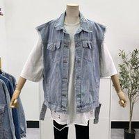 Bahar Yaz 2021 Casual Delik Denim Yelek Kadınlar Gevşek Vintage Yıpranmış Burr Açık Mavi Kolsuz Dış Giyim Sokak Kot Veste Femme Bayan Ves