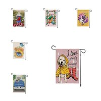 Butterfly flower animal Garden Flag linen Courtyard welcome flag double sided printing home Outdoor Banner Flags 9 style T2I51981