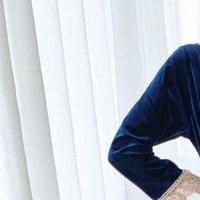 Длинный рукав кружевной дворец стиль женские спящие одеяние колено бархатные ночные рубашки SLIK SLIK MONESSHRTS Спи Носить винтаж