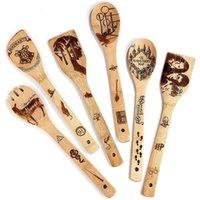 Fontes de festa de Natal colheres de madeira bambu madeira wok pás entranhas spotted spatula colher cozinhar utensílios de jantar conjuntos cozinha DHB8783