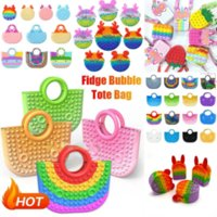 Fidget Toys Handbag Pencil Case Messenger Bag Coin Purse Decompression Toy Finger Silicone Rainbow Pendant Push Bubble Fashion Handbags Party Simple Relief c1