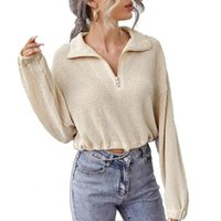 Women's Blouses & Shirts Spring Autumn Cool Cropped Pullover Knitted Solid Color Women Lapel Drawstring Waist Tied Shirt Sweater Streetwear