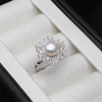 Cluster Rings Freshwater Pearl Ring For Women,Adjustable 925 Silver Finger Jewelry,Fashion Engagement Drop Fine Gift
