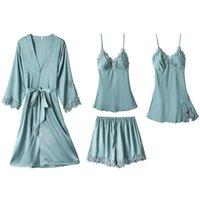 4 Pieces Set Silky Satin First Night Dress for Bride, Bridesmaid Nighties