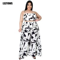 Women's Two Piece Pants Fashion Printed Sets Plus Size Clothes Women Spaghetti Strap Sleeveless Crop Top + Loose Wide Leg Casual Outfits