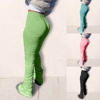 Neue High Waist Sweatpants Women Joggers Elastic Summer Stacked Leggings Bell Bottom Trouser Split Hem Flare Ruched Pant Women's Pants & Cap