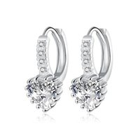 Hot 925 Sterling Silver Heart CZ diamond stud earrings fashion jewelry wedding gift for woman Top quality FAST SHIP