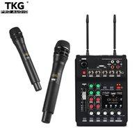 TKG MB-02 UHF Dual Channel Microfono con microfono wireless Set con riverbero USB BT5.0 per registrazione smartphone Karaoke KTV System