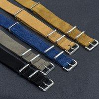 Bandes de montre 20mm 22mm Marron / Kaki Watchband Soft Sude Sweat Strap Strap Nato Poignet Quick Living Accessoires Remplacement