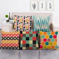 Cushion Decorative Pillow 45cm*45cm Abstract Honeycomb Geometry Cushion Cover Linen cotton Sofa Decorative Case