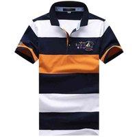Polo Smart Casual Shirts Hombres Moda Bordado de rayas 100% algodón Cómodo Tops de verano Tees Kenty Shark Brand Shirt