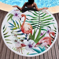 Flamingo Round Beach Towel, Microfiber Round Beach Blanket Sand Proof Oversized with Fringe Tassels, Hawaii Tropical Leaves Floral Yoga