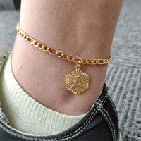 Anklets A-Z Letter Hexagon Initial Anklets For Women Gold Stainless Steel Ankle Bracelet On The Leg Female Foot Chain Anklet Jewelry 1125 Q2