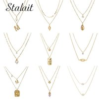 Pendant Necklaces Luxury Natural Pearl Long Necklace With Geometric Sequins Sea Shell Letter M Coin Chain For Women