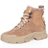 Boots RASMEUP 2021 Genuine Leather Snow Women Winter Thick Fur Warm Shoes Sneakers Ankle Back Zipper Boot