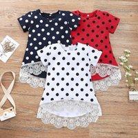 아기 옷 폴카 도트 유아 소녀 드레스 짧은 소매 어린이 공주 스커트 부티크 키즈 의류 3 색