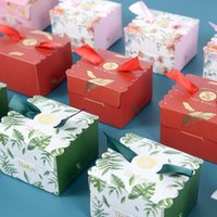 Gift Wrap 5 10pcs Forest Wedding Favor Boxes Save The Date Candy Cookie Packaging Paper Box For Home Ceremony Party Supplies Decor