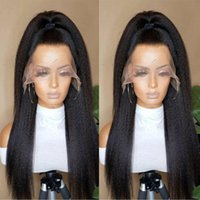 Synthetic Wigs Yaki Wig For Women Lace Frontal High Density Daily Kinky Straight Glueless