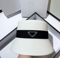 Sommer Männer Frauen Persönlichkeit breite Krempe Hüte Dreieck Buchstaben Druck Strohhut Mode Einfache Stile Sunshade Protection Beach Eimer Cap