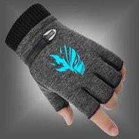 Kış Erkekler 2020 Yeni Kadın Eldiven Kader Sıfır Suçlu Taç Vakfı Floresan Aydınlık Parmaksız Eldiven Sıcak Örme Eldiven Y0910
