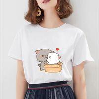 Verano dibujos animados gato impresión casual harajuku kawaii mujeres camiseta manga corta o cuello ropa top streetwear femenino ropa mujer camiseta mujer