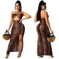 Günlük Elbiseler Seksi Kadınlar Yaz Straplez Elbise Bodycon Robe Kadın Split Sıska Parti Vestidos Leopar Baskı Oymak