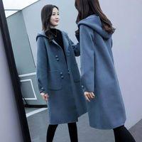Femenino Winter Warm Long Long Beg Black Capucha Capucha Damas Elegante Oficina Oficina Oficina Para Mujer Lana Fijadora Abrigos Moda Coreana Outerwear Ropa Mujer BL
