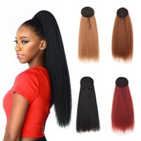 Synthetic Wigs Drawstring Ponytail Hair 22 Inch Clip In Afro Kinky Straight Hairpieces With Elastic Band Comb