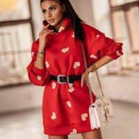 Casual Dresses Winter Warm Long Sleeve Love Print Sweatshirt Dress Women 2021 Autumn Loose Hooded For Woman Tops Robe Femme