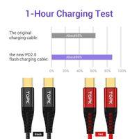جديد وصول topk 2021 1 متر 60 واط usb نوع c كابل إلى USB C لسامسونج s10 xiaomi oneplus pd qc3.0 شحن سريع كابل البيانات Type-C FY7429