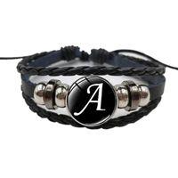 Bracelets de charme 26 lettre A-Z Snap métal Bead Bead Bracelet Nom Nom Amitié Noir Tressé Cuir Hommes Femmes Enfants Family cadeau