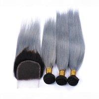 Малайзийские серебряные серые омбре человеческие волосы с закрытием 4шт. Лот # 1b серый ommre Малайзийские прямые волосы 3 с 1шт 4х4 кружевной закрытием