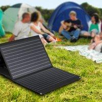 الطاقة 100W الألواح الشمسية للماء قابلة للطي أحادي السيليكون مجلس الطاقة شاحن الطاقة الشمسية حقيبة مع 2 USB + العاصمة تكرار السفر - أسود