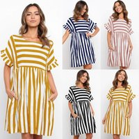 Maternity Dresses Fashion Mommy Striped Sundress Ruffled Sleeve Summer Pregnant Women Casual Loose Clothes Pre-mother Wedding Guest Dress