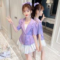Clothing Sets Kids Blazer For Girls Jacket + Short Camisoles 3PCS Tuxedos Suit Formal Wedding Children Clothes 4 6 8 10 14 Year