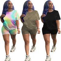 Plus Größe Womens Casual Trainingsanzüge Sport Zwei Stück Sets Sommerkleidung Kurzarm T-shirt + Mini Shorts Slim Jogger Anzug Brief Druck Outfits 4718