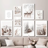 Paintings Nature Deer Duck Reed Snow Wood Wall Art Canvas Painting Nordic Posters And Prints Pictures For Living Room Winter Decor