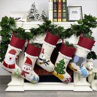 Cartoon Christmas Stocking Santa Candy Apple Socks Xmas Tree Pendant Fireplace Decoration Festival Supplies Kids Gifts Bag